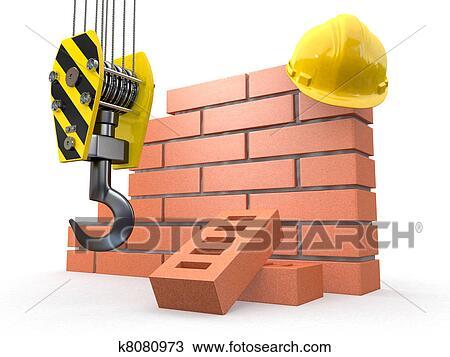 Brick Wall Crane And Hardhat 3d