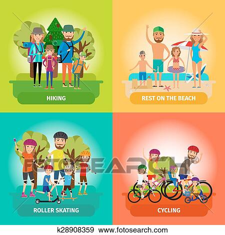 Clip Art Of Vector Set Family Or Healthy Lifestyle Concepts In