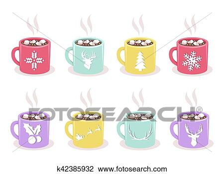 Clipart Of Vector Set Of Mugs With Cocoa Marshmallow Winter