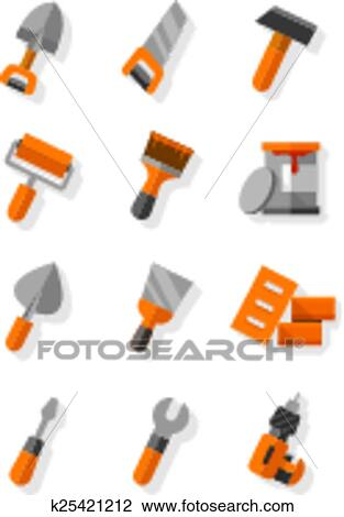 Clipart Of Working Tools For Construction And Maintenance Flat Icons