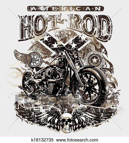American Hot Rod Motorcycle Clipart