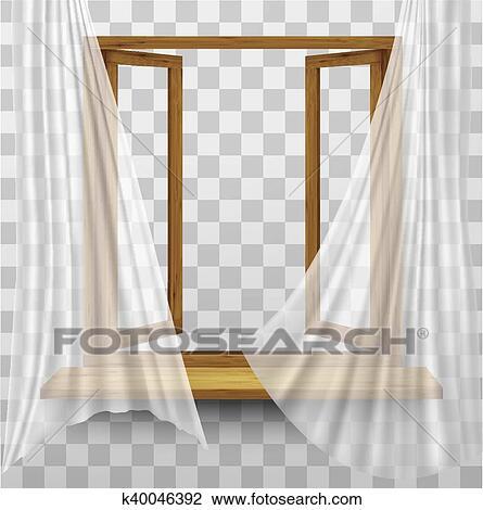Bois Cadre Fenêtre à Rideaux Sur A Transparent Arrière Plan