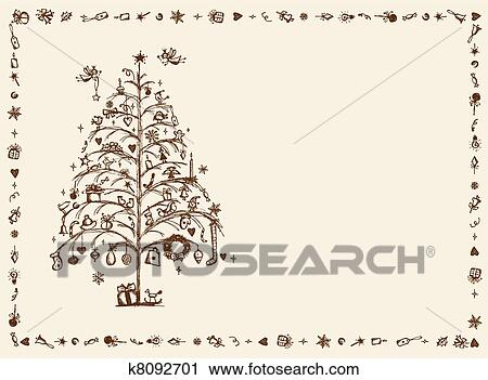 Drawing Christmas Tree Sketch.Christmas Card Sketch Drawing For Your Design Clipart