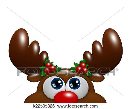 Christmas Cartoon Reindeer With Holly Looking Up Over White