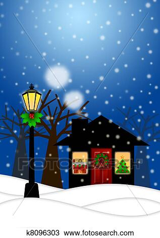 Drawing Of House And Lamp Post In Winter Christmas Scene