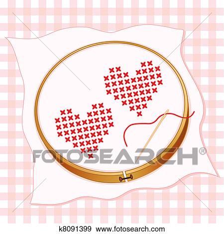 Klip Art Iki Kalp çapraz çizgiler çizmek Dik Işleme K8091399