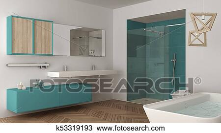Bathroom With Double Sink Shower
