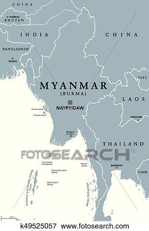 Burma Political Map.Clip Art Of Myanmar Burma Political Map K49525057 Search Clipart