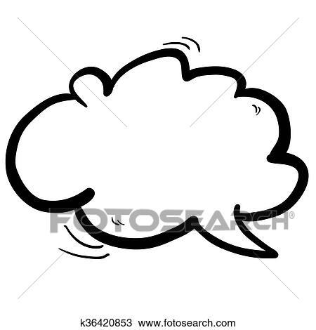 Schwarz Weiß Freehand Gezeichnet Karikatur Wolke Sprechblase