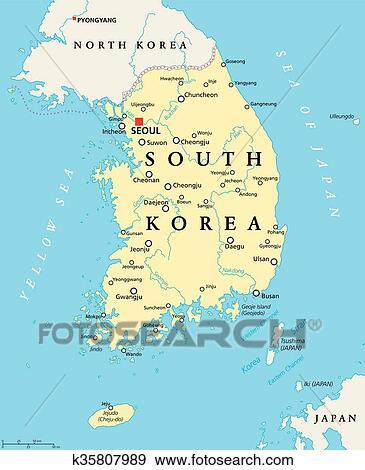 Clip Art of South Korea Political Map k35807989 - Search Clipart ...