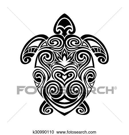 c4e455501 turtle in maori tattoo style. Clipart   k30990110   Fotosearch