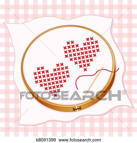 clip art of two hearts cross stitch embroidery k8091399 search rh fotosearch com embroidery clipart sites embroidery clipart for digitizing