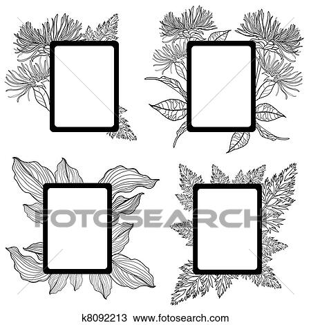 Drawing of Vector set of vintage frames with flowers k8092213 ...