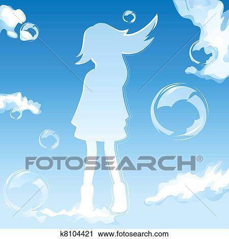 空 女の子 クリップアート切り張りイラスト絵画集 K8104421