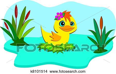 自然 池 で かわいい アヒル クリップアート切り張り