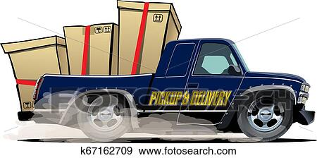 Cartoon Delivery Or Cargo Pickup Truck Isolated On White