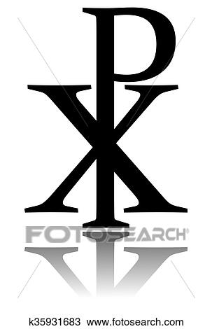 Drawing Of Glossy Chi Rho Symbol With Drop Shadow K35931683 Search