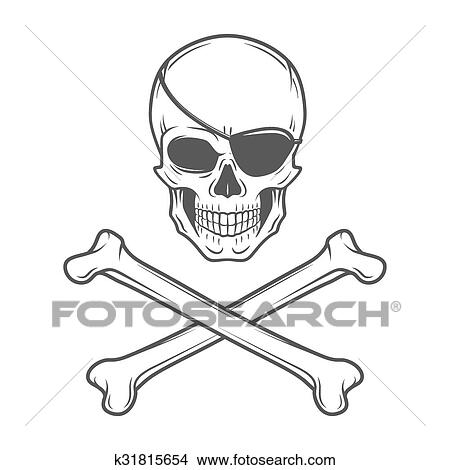 Clipart Of Jolly Roger With Eyepatch And Crossbones Logo Template