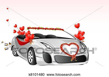 Clipart mariage voiture k8101480 recherchez des clip arts des illustrations des dessins - Dessin voiture mariage ...