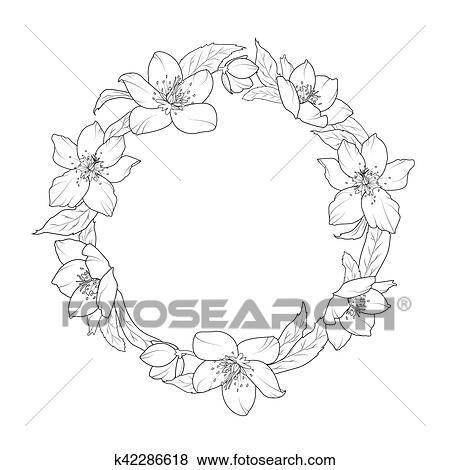 Clipart Rose Noel Ellebore Fleurs Couronne Gabarit K42286618