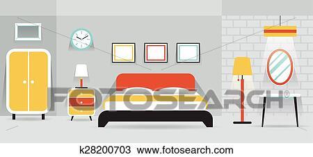 Clipart Schlafzimmer Mobel Textanzeige Panorama K28200703