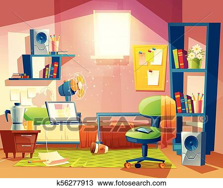 Awe Inspiring Vector Small Room Cartoon Bedroom With Furniture Clipart Interior Design Ideas Helimdqseriescom