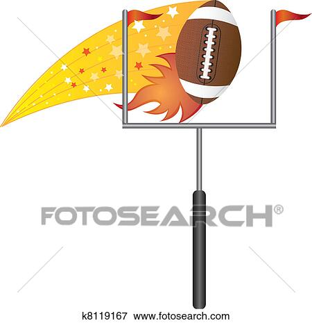 clip art of american football with goal post k8119167 search rh fotosearch com Football Field Goal Post football goal post clipart free