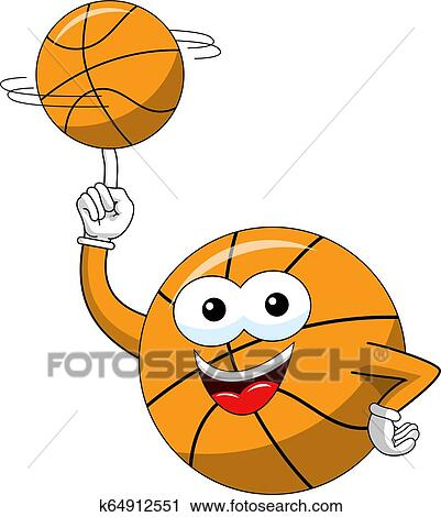 Basketball Ball Cartoon Funny Character Spinning Balance Ball Isolated Clipart K64912551 Fotosearch