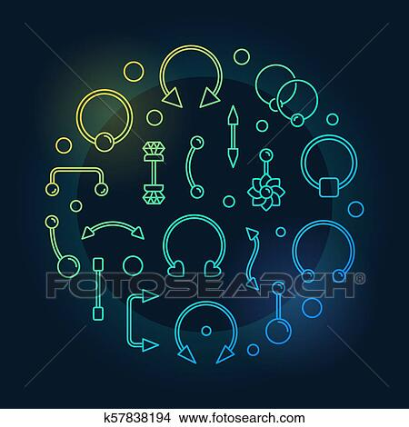 Body Piercing Colored Vector Illustration On Dark Background Clipart K57838194 Fotosearch