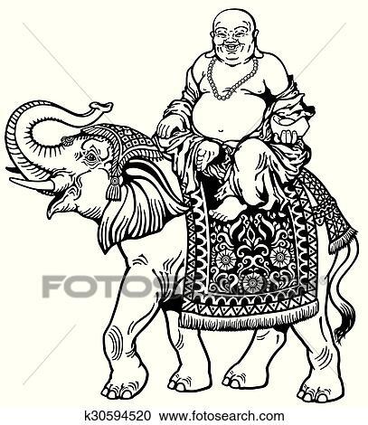 Elephant Buddha Drawing