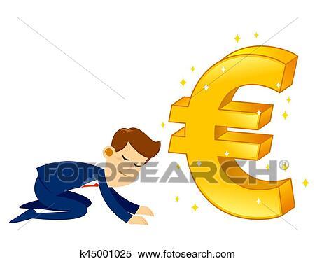 Clipart Of Businessman Worshipping Money Golden Euro Symbol