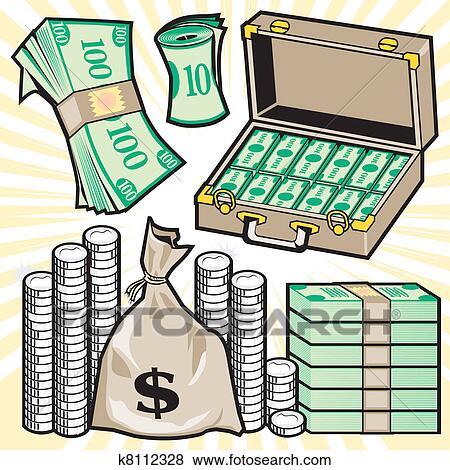 clip art of cartoon cash k8112328 search clipart illustration rh fotosearch com clipart money coloring page clipart money images