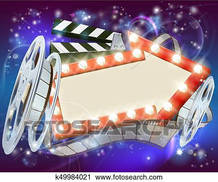 Abstract Movie Cinema Film Sign With Light Bulbs Arrow Clapperboard And Reel