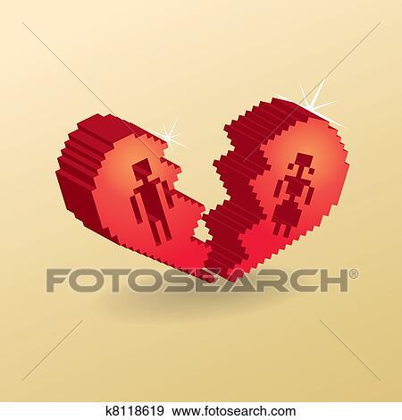Coeur Cassé Dans 3d Pixels Illustration Banque Dillustrations