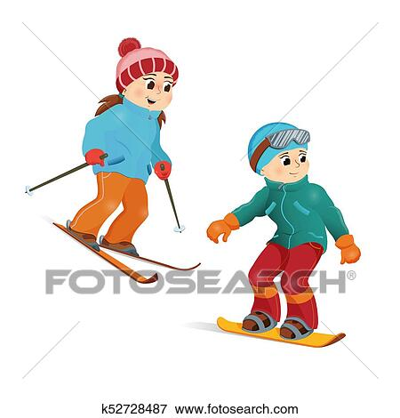 Happy Teen Girl Skiing And Boy Snowboarding Clip Art K52728487 Fotosearch
