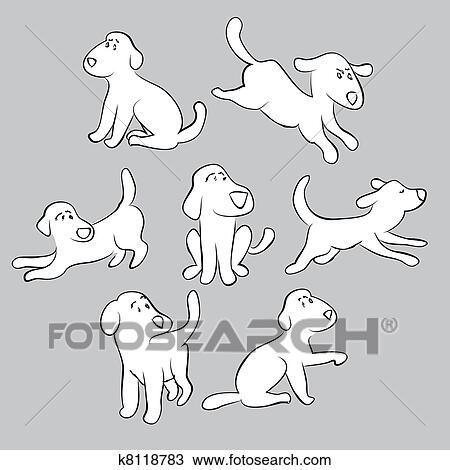 desenho jogo de cute filhotes cachorro isolado ilustração