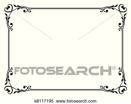 Clipart calligraphie d coratif d coratif cadre c ur k8117195 recherchez des clip arts - Cadre photo dessin ...