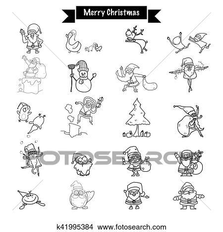 Main Dessin Joyeux Noël Rigolote Dessin Père Noël Et Tout éléments Griffonnage Ensemble Vecteur Conception Caractère Clipart