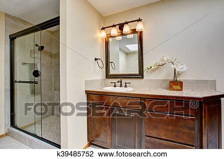 Stock Photo Of Modern Bathroom With Vanity Cabinet With Granite