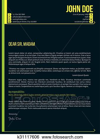 Modern Cover Letter Cv Resume Template With Arrows Clip Art K31117606