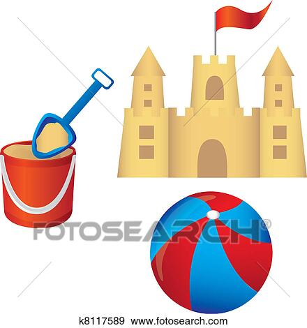 clip art of sandcastle set vector k8117589 search clipart rh fotosearch com sand castle clipart sand castle clipart images