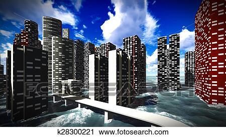clipart of tsunami devastating the city k28300221 search clip art