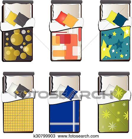 clipart unique lit vue dessus ensemble 5 k30799903 recherchez des clip arts des. Black Bedroom Furniture Sets. Home Design Ideas