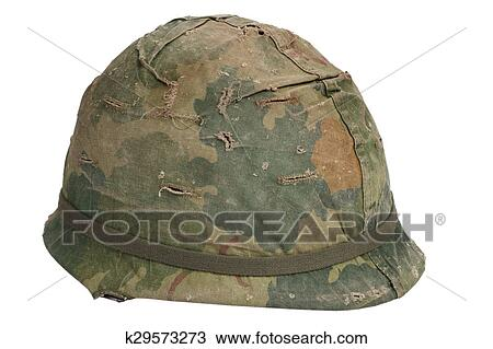 51fb8645 Stock Image - US Army M1 helmet with camouflage cover Vietnam war period.  Fotosearch