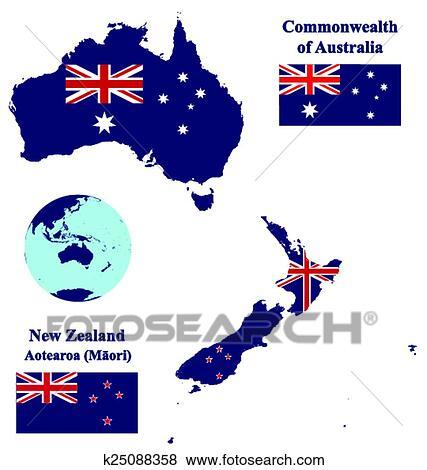 Carte Australie Drapeau.Australie Nouvelle Zelande Carte Drapeau Clipart