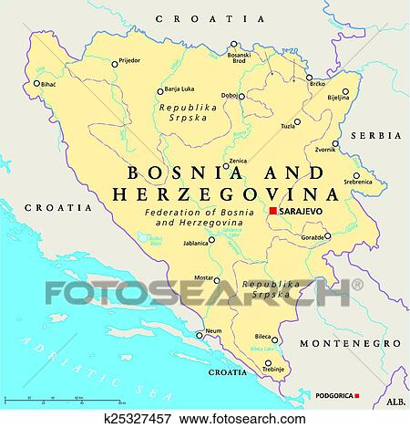 Clip Art of Bosnia And Herzegovina Political Ma k25327457 - Search ...