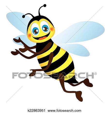 Clipart Of Cute Bright Funny Bee K22863951 Search Clip Art