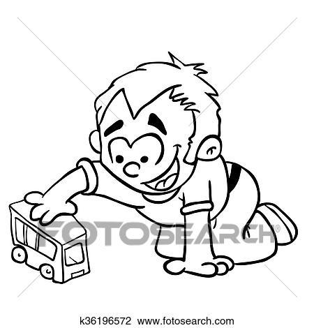 Clipart Junge Schwarz Weiß