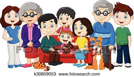 Clipart Famille clipart - grand, famille, à, grands-parents k30859053 - recherchez