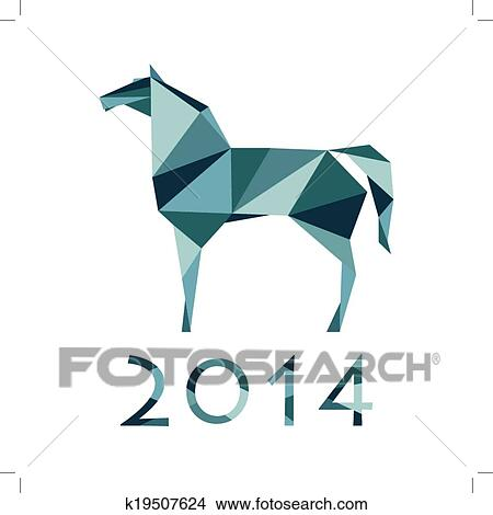 Year Of The Horse Abstract Illustration Origami Paper Horses Design Isolated On A White Background Vector